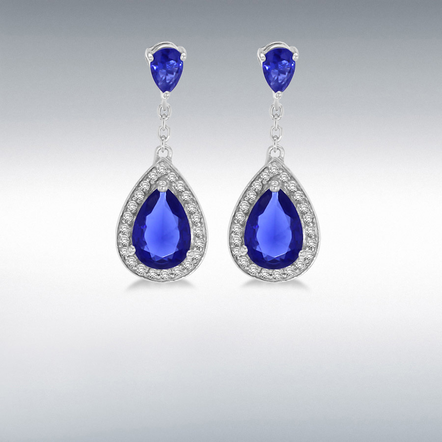 Sterling Silver Blue and White CZ 11mm x 29mm Teardrop Earrings
