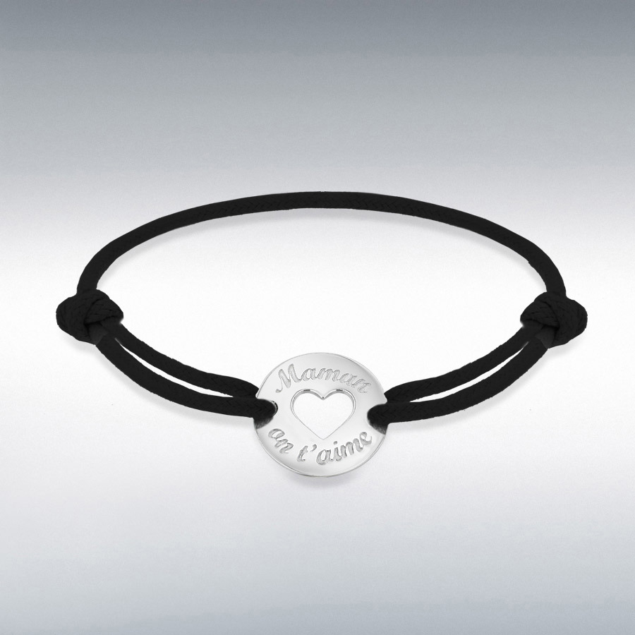 Sterling Silver Rhodium Plated Black Cord 16.4mm 'Maman on t'aime' Disc Adjustable Bracelet
