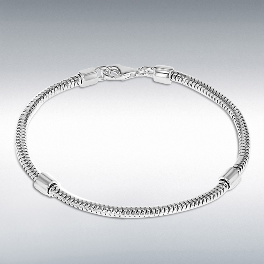 Sterling Silver 3mm Snake Chain and Stoppers Bracelet 21cm/8.25""
