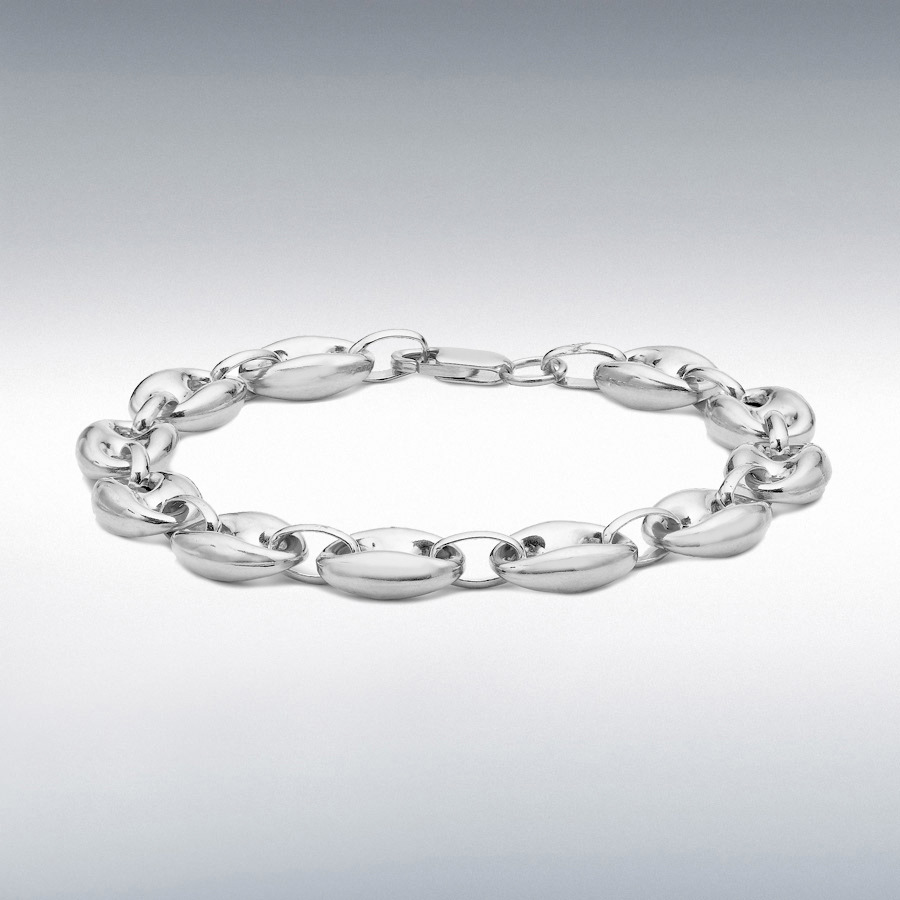 Sterling Silver Rambo and Oval Link Chain Bracelet 18cm/7""