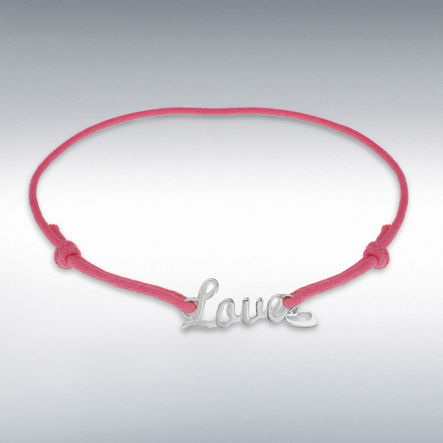 "Sterling Silver Rhodium Plated 'Love' and Heart Charm Pink Cord Adjustable Bracelet 13cm/5"" - 21.5cm/8.5"""