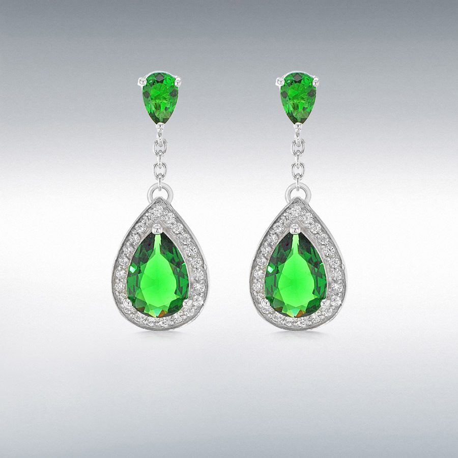 Sterling Silver Green and White CZ Teardrop Earrings