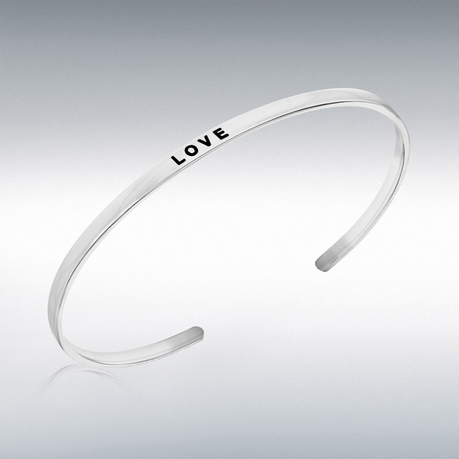 Sterling Silver Rhodium Plated 'Love' Message Cuff Bangle