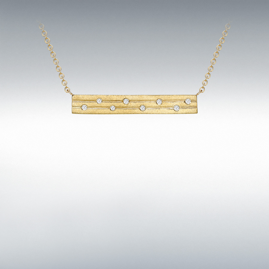 "9ct Yellow Gold 0.06ct Diamond Satin Bar Adjustable Necklace 41cm/16""-46cm/18"""