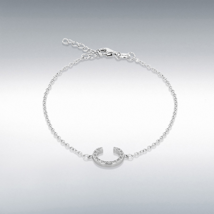 Sterling Silver Rhodium Plated CZ 11mm x 9mm 'C' Initial Bracelet 19cm/7.5''