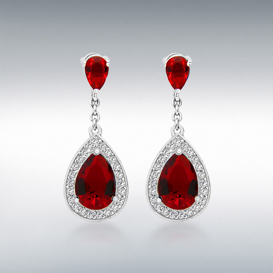 Sterling Silver Red and White CZ 11mm x 29mm Teardrop Earrings