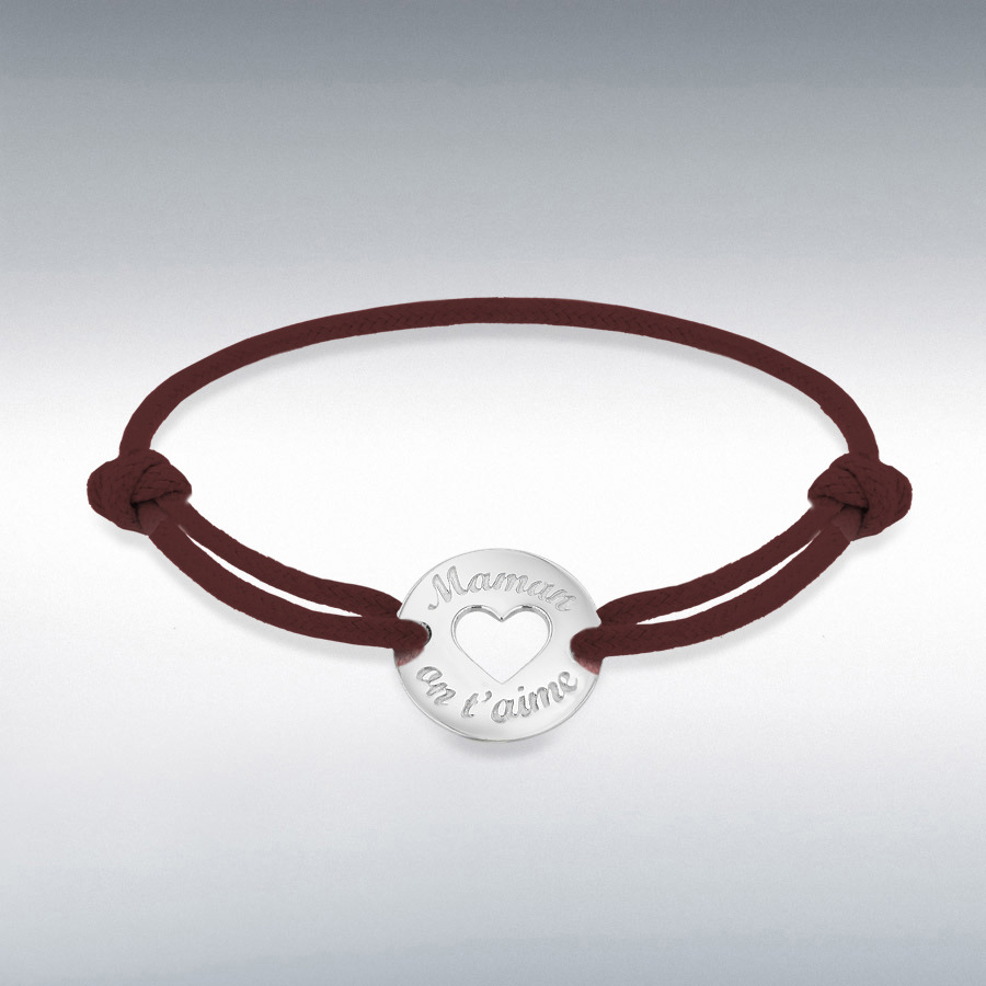 Sterling Silver Rhodium Plated Brown Cord 16.4mm 'Maman on t'aime' Disc Adjustable Bracelet