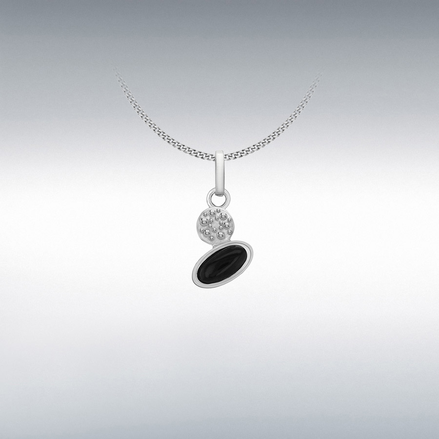 Sterling Silver Rhodium Plated Diamond and Onyx Pendant