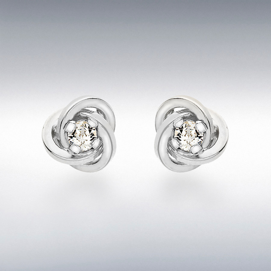 9ct White Gold 3mm CZ 7mm Knot Stud Earrings