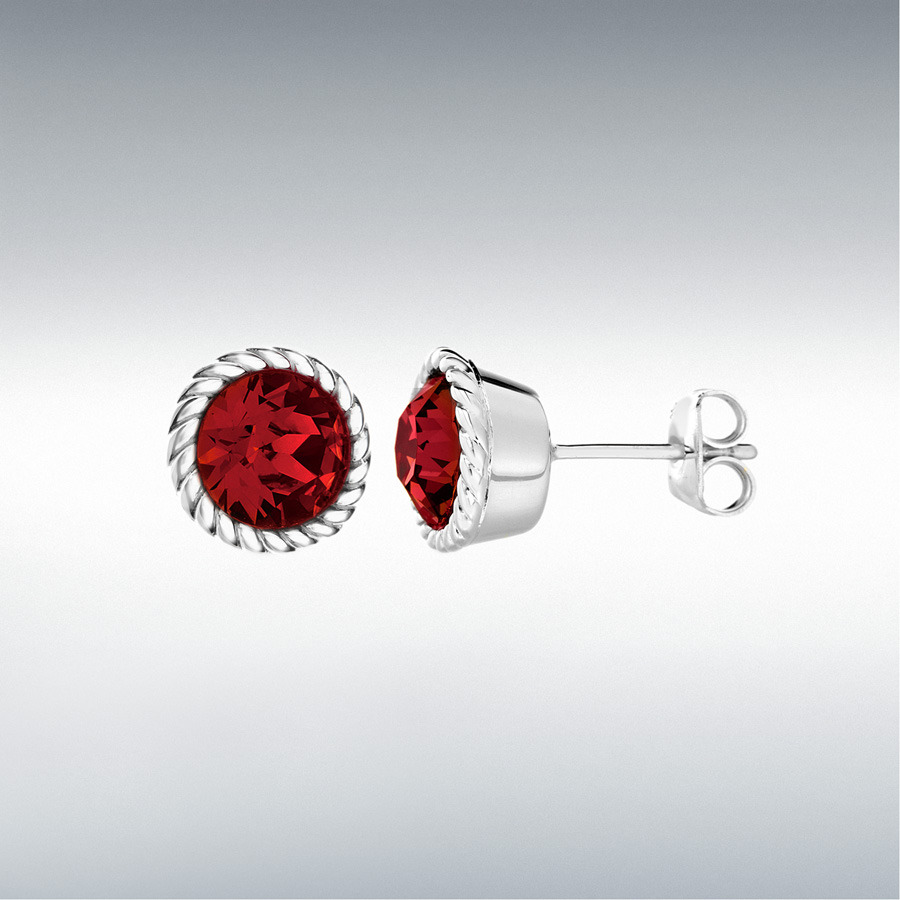 Sterling Silver Red Swarovski Crystal 11mm July Birthstone Stud Earrings