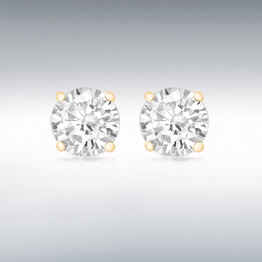 Sterling Silver Yellow Gold Plated 9mm Round CZ Claw Stud Earrings