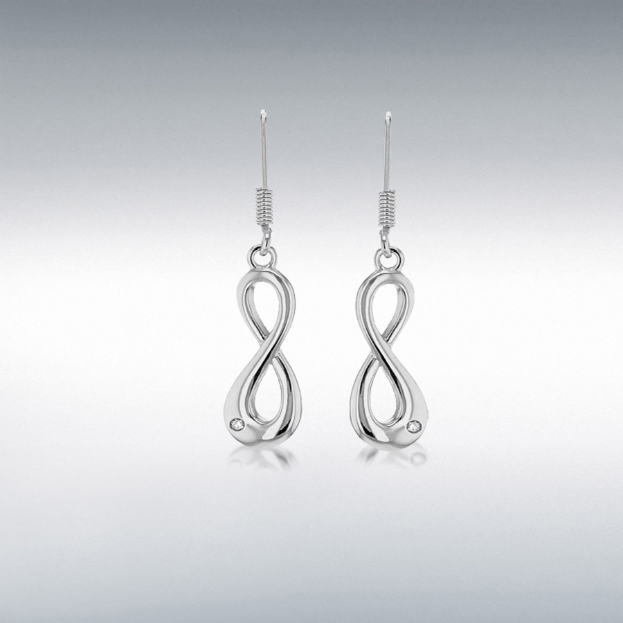 Sterling Silver Rhodium Plated CZ Infinity Drop Earrings