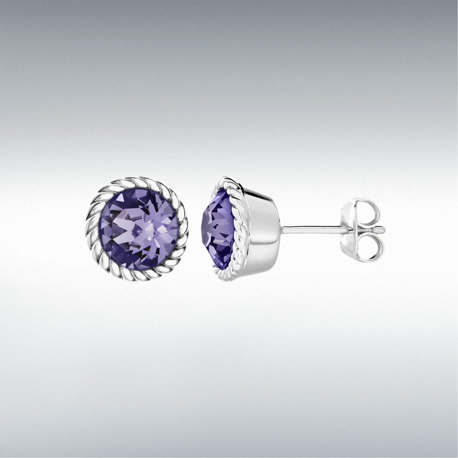 Sterling Silver Violet Swarovski Crystal 11mm December Birthstone Stud Earrings