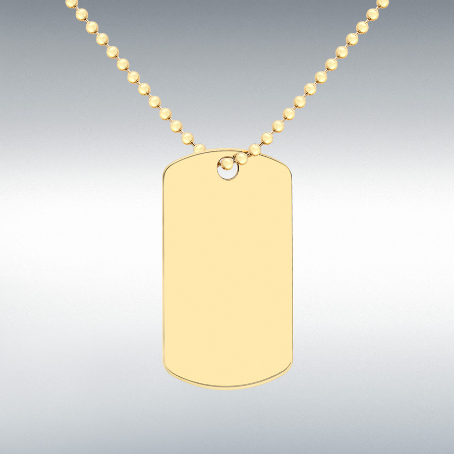 9ct Yellow Gold Dog Tag on Ball Chain Necklace 51cm20 Engravable
