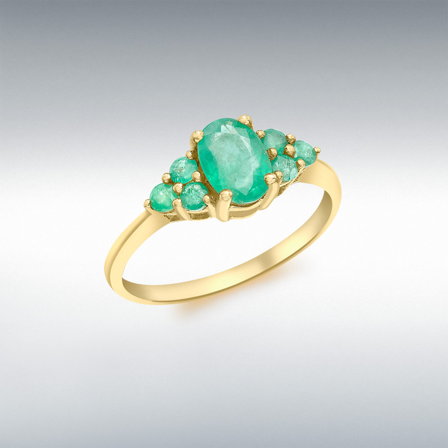 9ct Yellow Gold Emerald Cluster Ring