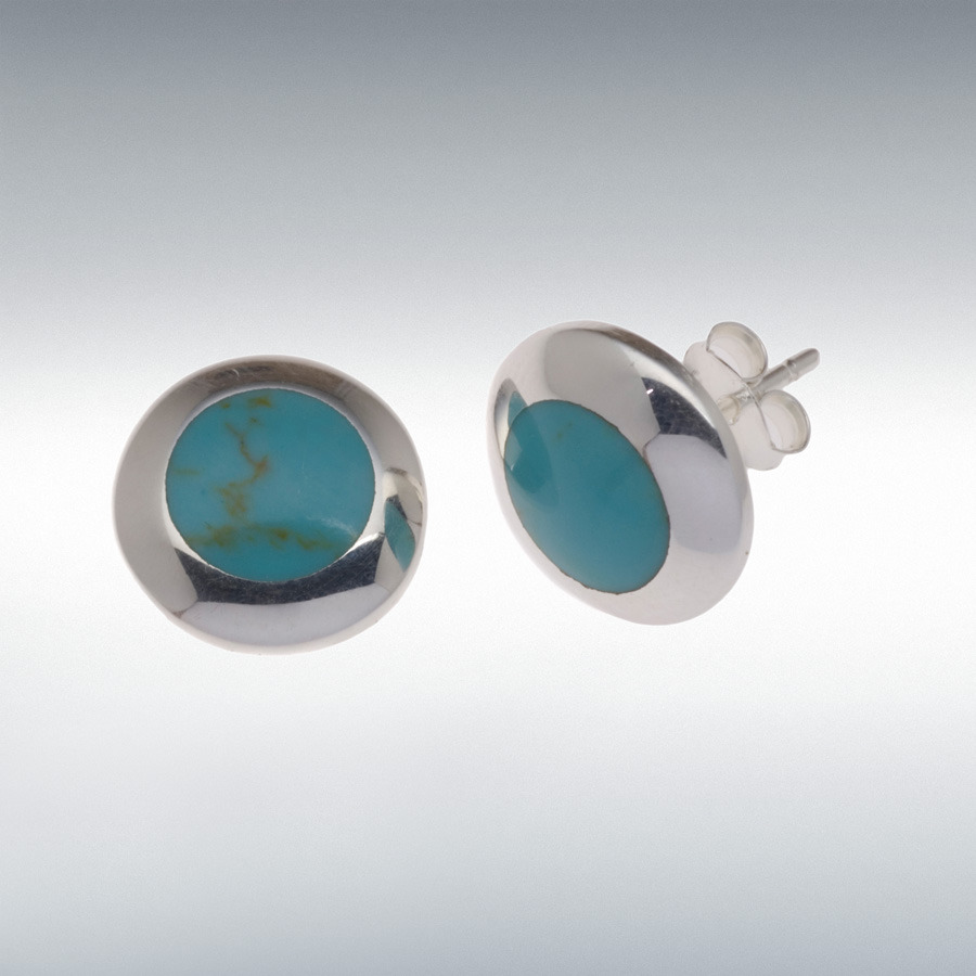 Sterling Silver 12mm Round Turquoise Stud Earrings