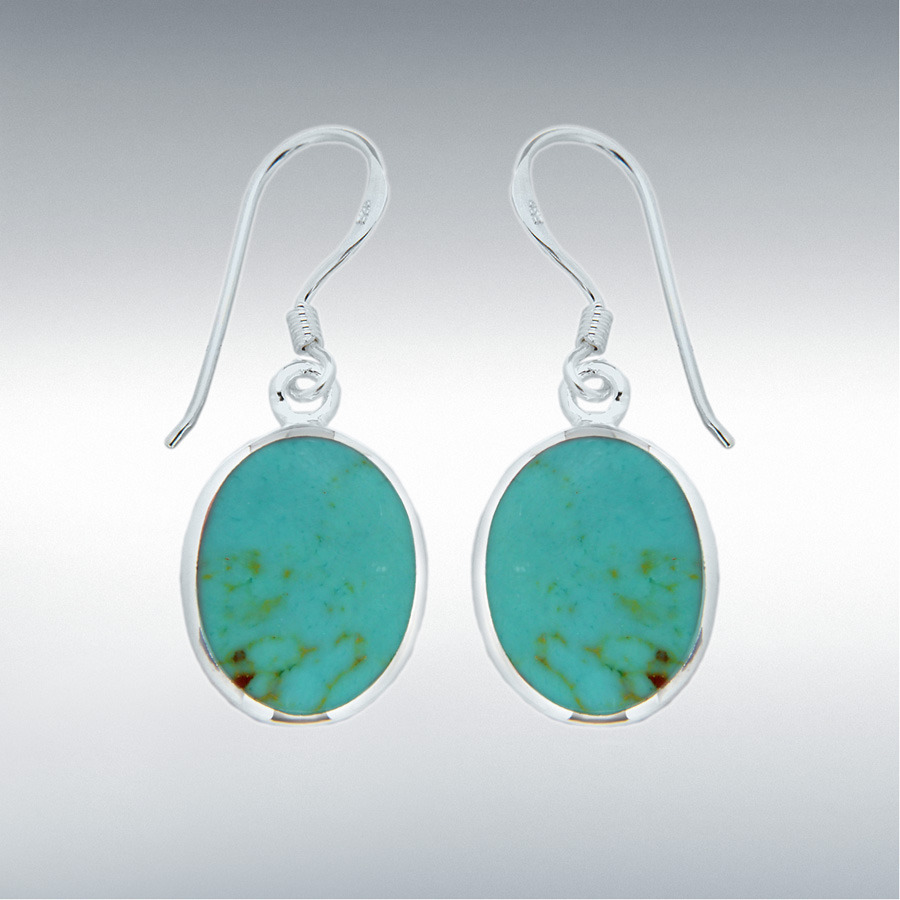 Sterling Silver Oval Turquoise 12.5mm x 32.5mm Drop Earrings