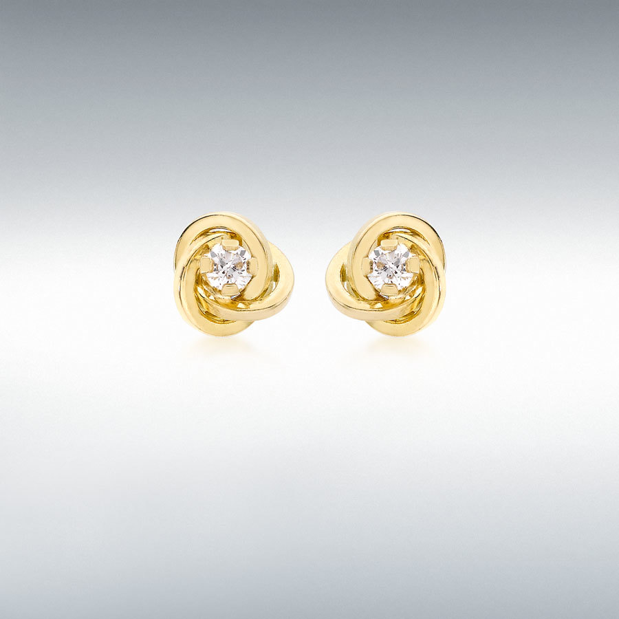 9ct Yellow Gold 3mm CZ 7mm Knot Stud Earrings