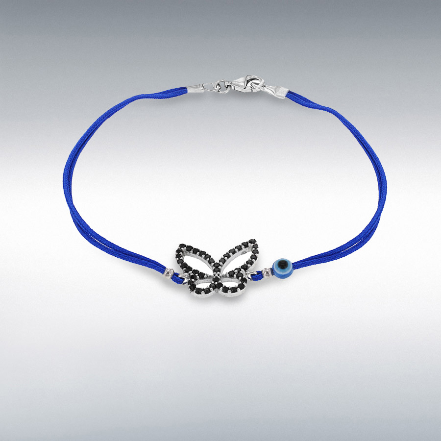 Sterling Silver Black CZ Butterfly and Bead Blue Cord Bracelet 18cm/7""