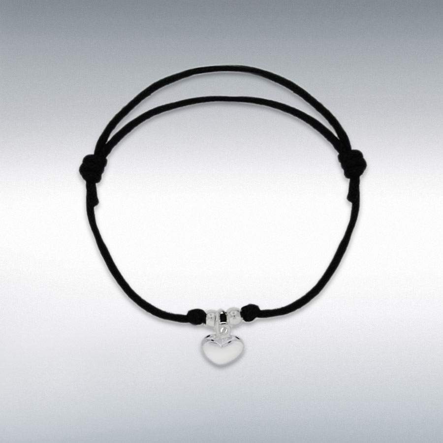 "Sterling Silver Heart Black Cord Adjustable Bracelet 15cm/6""-25.5cm/10"""