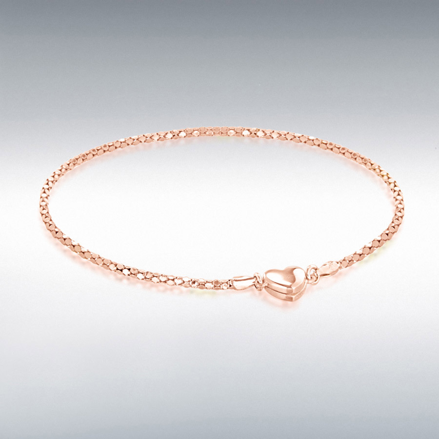 Sterling Silver Rose Gold Tone 7.6mm x 6.2mm Magnetic Heart Popcorn Chain Bracelet 19cm/7.5""