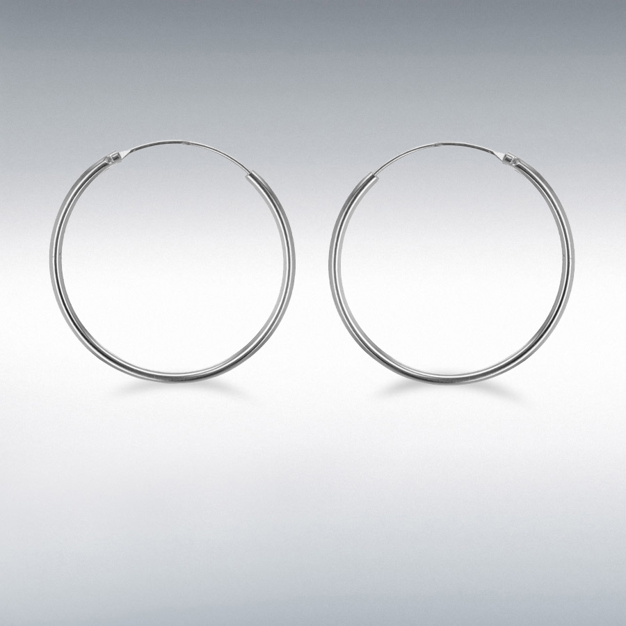 Sterling Silver 30mm Endless Hoop Earrings