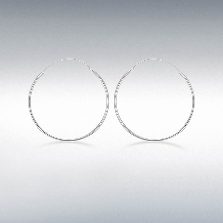 Sterling Silver 40mm Endless Hoop Earrings
