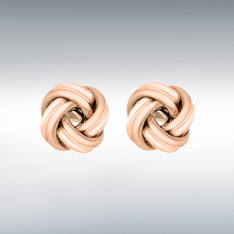Sterling Silver Rose Gold Plated 12mm Knot Stud Earrings