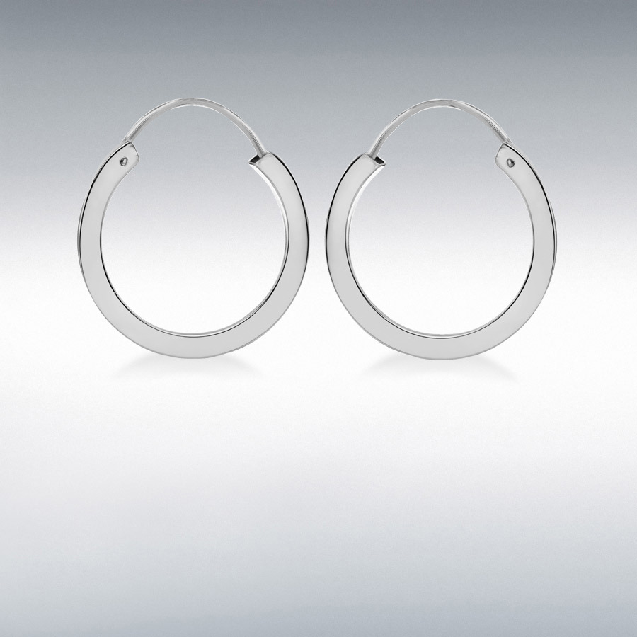 Sterling Silver 20mm Square Tube Hoop Earrings