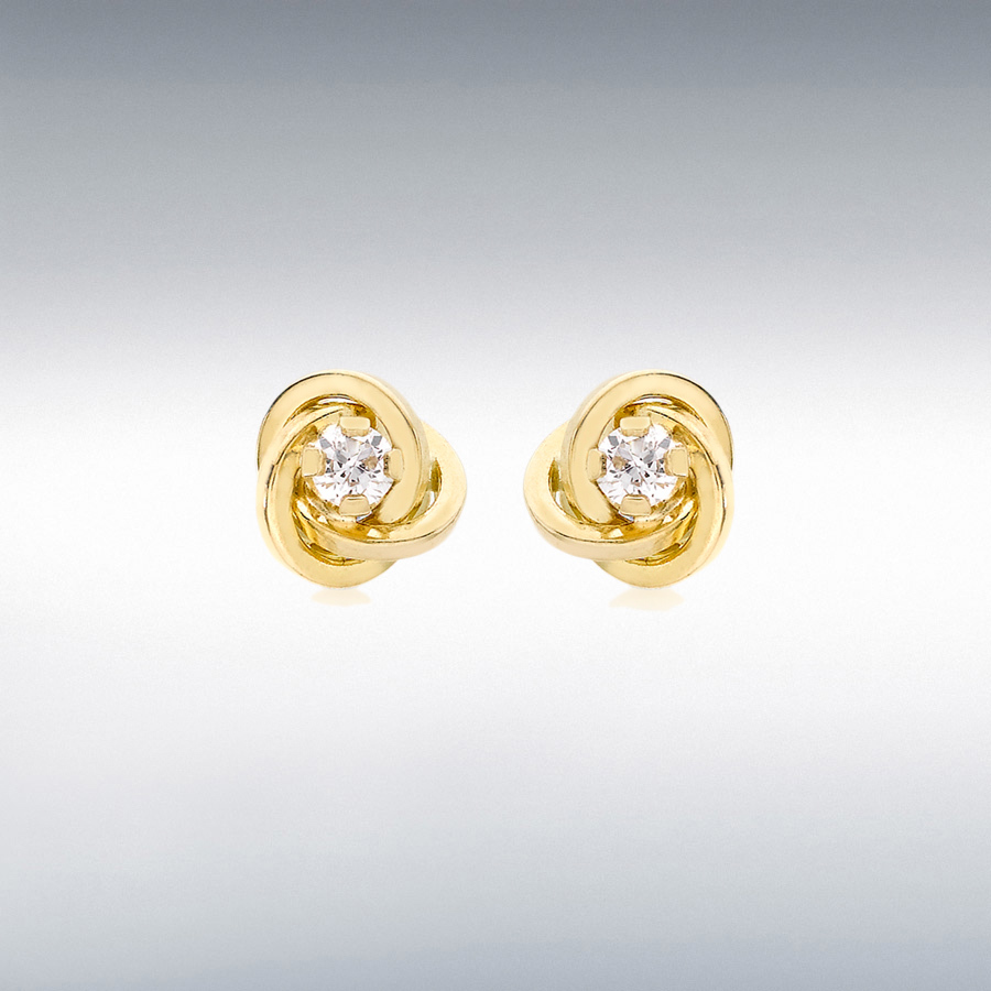 18ct Yellow Gold CZ 6.5mm Knot Stud Earrings