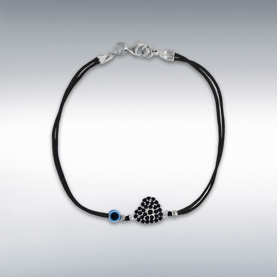 Sterling Silver Black CZ Heart and Bead Black Cord Bracelet 18cm/7""