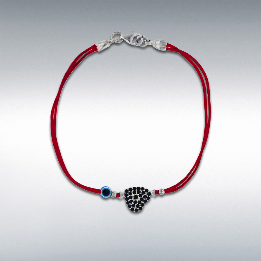 Sterling Silver Black CZ Heart and Bead Red Cord Bracelet 18cm/7""