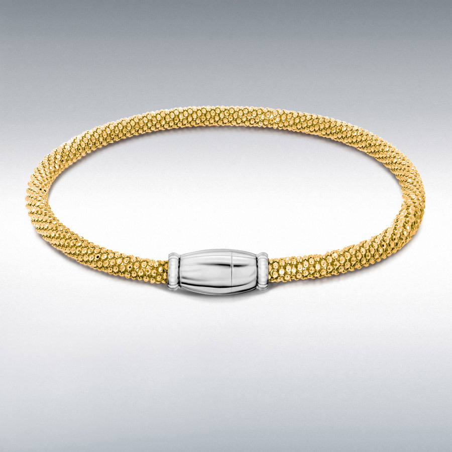 Sterling Silver Yellow Gold Plated Sparkle Magnetic Bracelet 19cm/7.5""