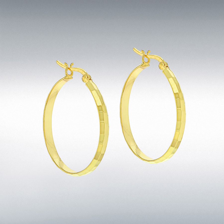 Sterling Silver Yellow Gold Plated 30mm Diamond Cut Creole Earrings