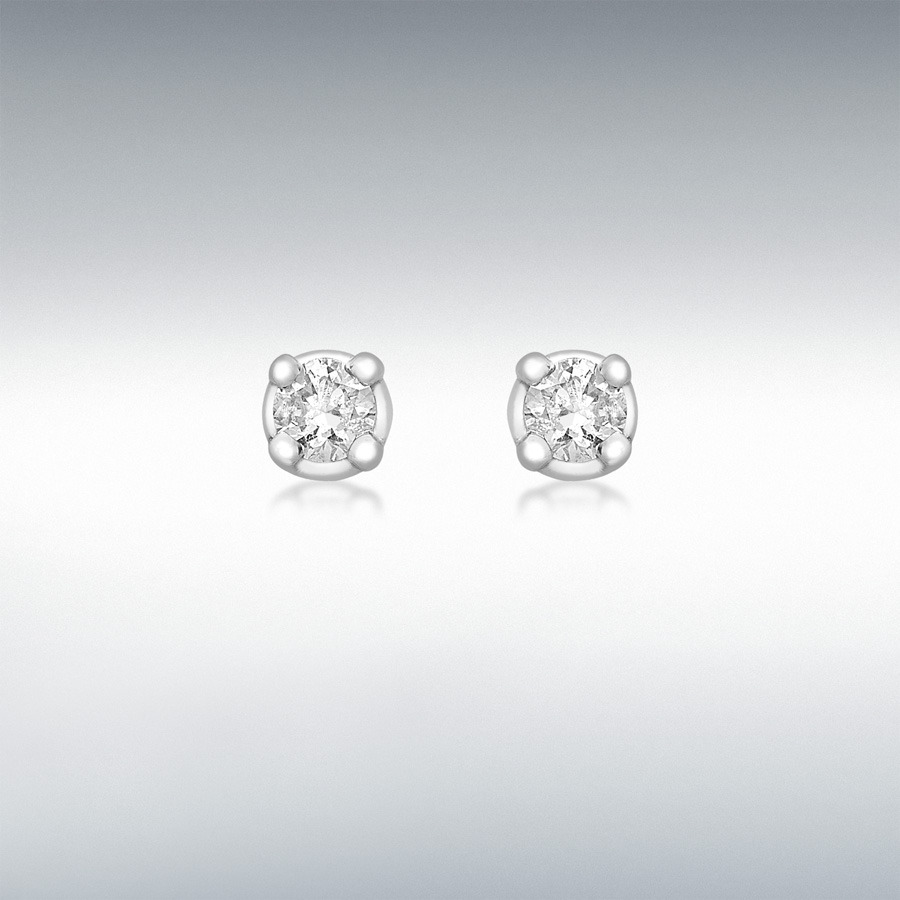 18ct White Gold 0 10ct Diamond 2mm Stud Earrings