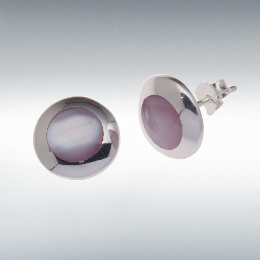 Sterling Silver 12mm Pink Mother of Pearl Stud Earrings