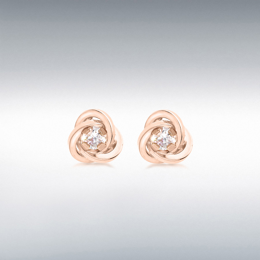 18ct Rose Gold CZ 6.5mm Knot Stud Earrings