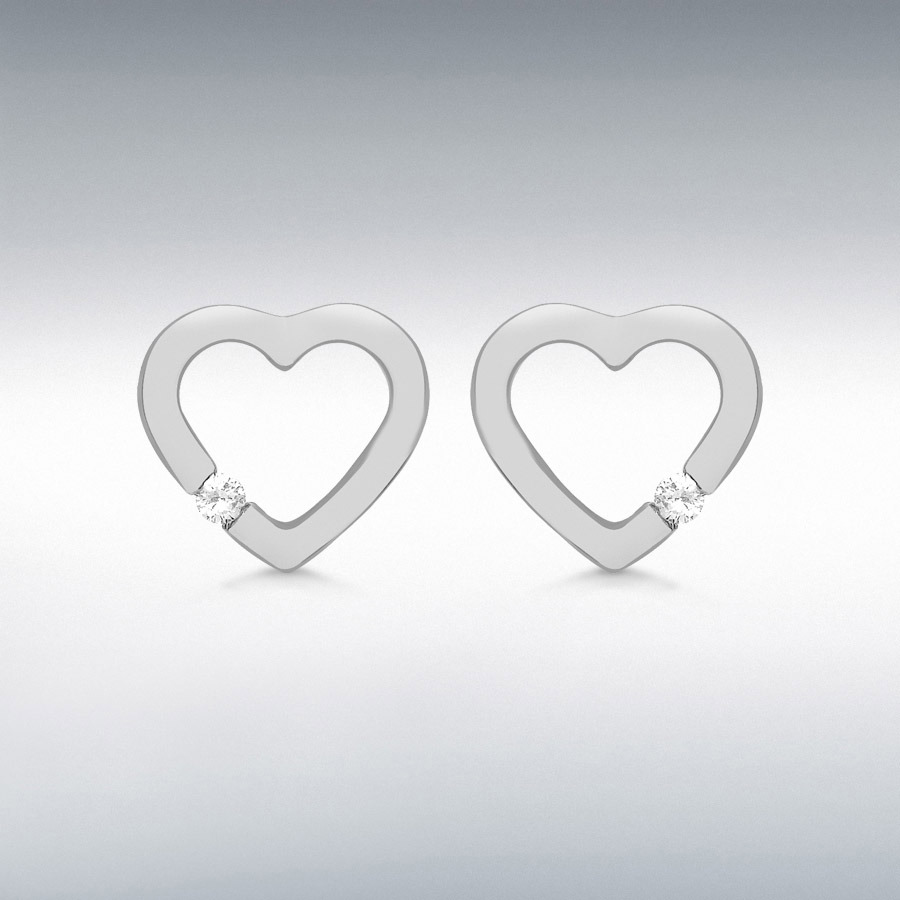Sterling Silver Rhodium Plated CZ 10mm x 10mm Floating Heart Stud Earrings