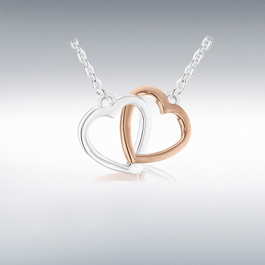 Sterling Silver Rose Gold Plated 21mm x 15mm Linked-Hearts Adjustable Necklace 46cm/18''-48.25cm/19''