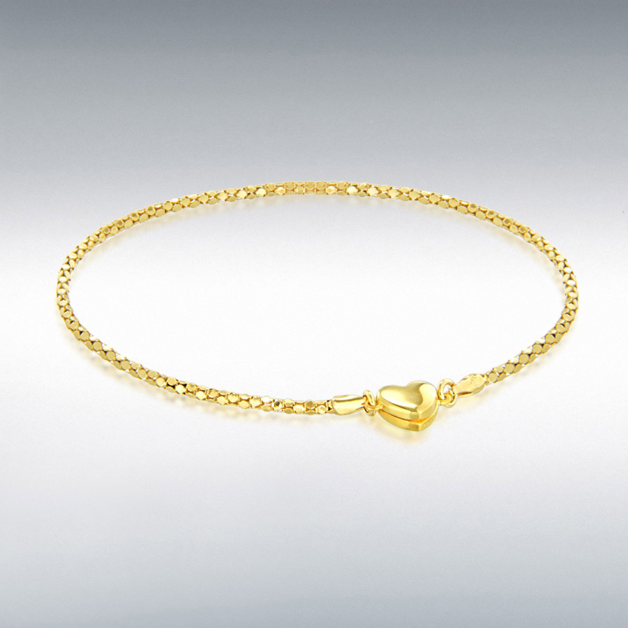 Sterling Silver Yellow-Gold-Tone Magnetic-Heart Popcorn Chain Bracelet 19cm/7.5''