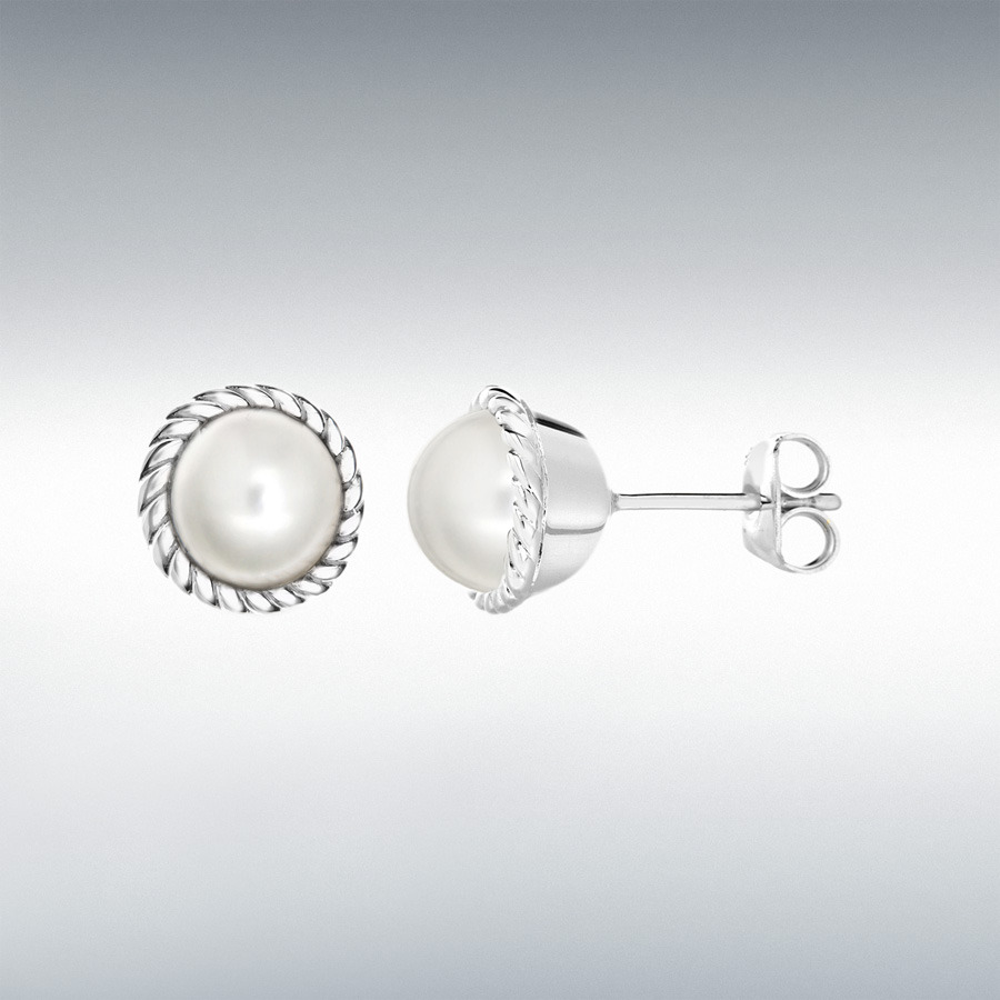 Sterling Silver Pearl 11mm June Birthstone Stud Earrings
