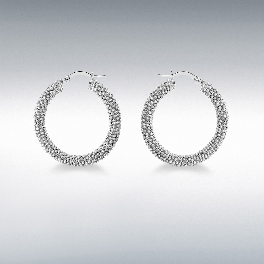 Sterling Silver Rhodium Plated 30mm Textured Hoop Earrings