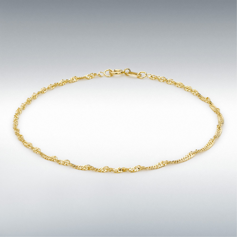 9ct Yellow Gold 30 Twist Curb Chain Anklet 23cm/9""