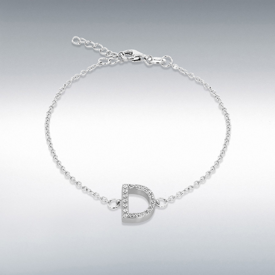 Sterling Silver Rhodium Plated CZ 8mm x 11mm 'D' Initial Bracelet 19cm/7.5''