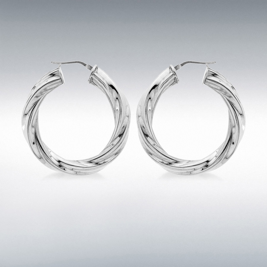 Sterling Silver 6mm Tube 37mm Twisted Hoop Creole Earrings