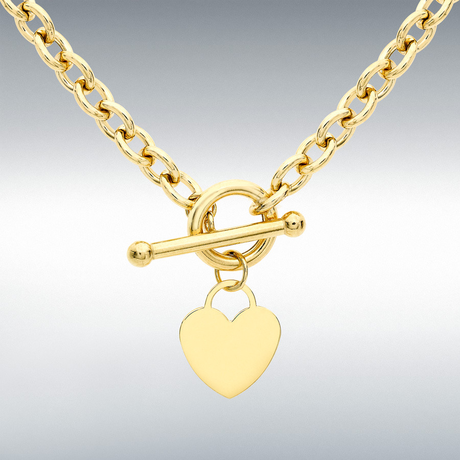 9ct Yellow Gold Heart Tag T Bar Oval Belcher Chain 41cm 16