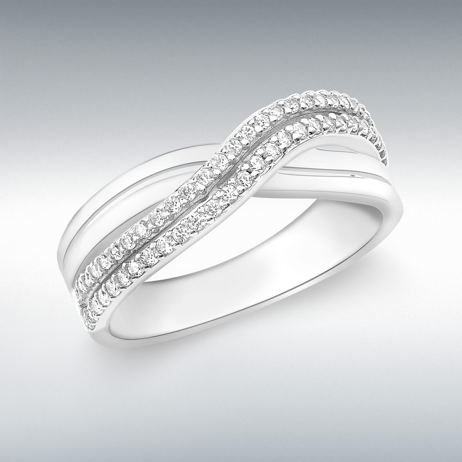 9ct white gold cz crossover ring rings ibb