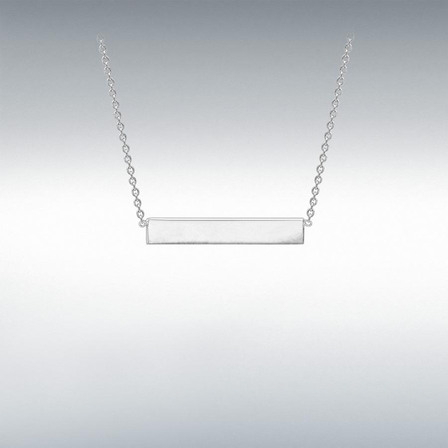 b8dba9fb197 9ct White Gold 22mm x 3mm Horizontal Bar Pendant Adjustable Necklace  41cm/16